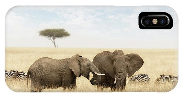 iPhone Case - Elephants And Zebras In The Grasslands Of The Masai Mara by Jane Rix