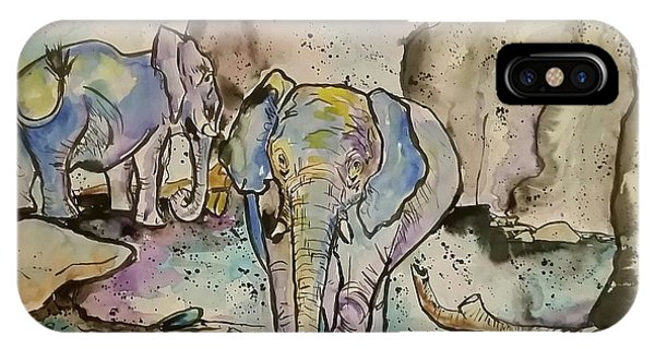 iPhone Case - Elephants  by Arrin Burgand