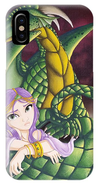Elf Girl And Dragon IPhone Case