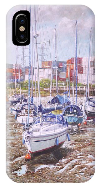 Pylon iPhone Case - Eling Yacht Southampton Containers by Martin Davey