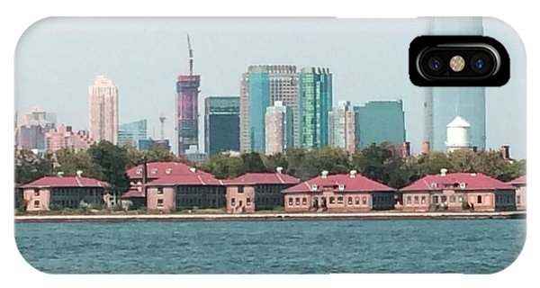 IPhone Case featuring the painting Ellis Island And Nyc by Denise Tomasura