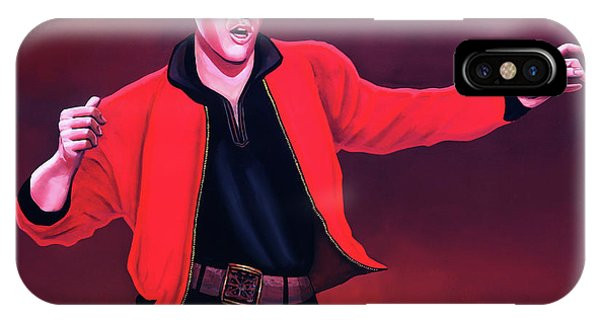 Rock And Roll iPhone X / XS Case - Elvis Presley 4 Painting by Paul Meijering
