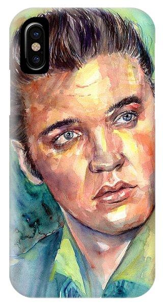 Legends Music iPhone Case - Elvis Presley Portrait by Suzann's Art