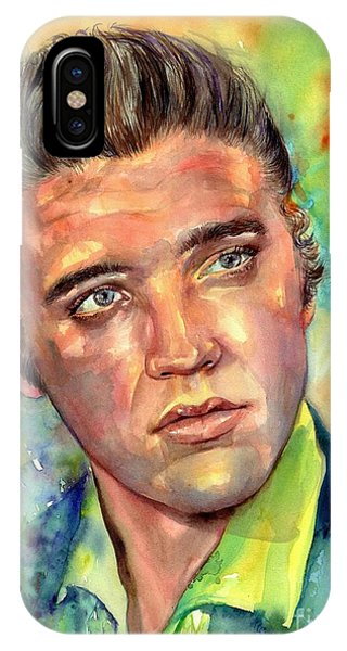 Legends Music iPhone Case - Elvis Presley Watercolor by Suzann's Art