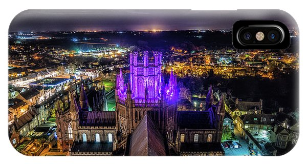 Ely Cathedral In Purple IPhone Case