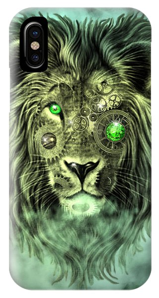 Emerald Steampunk Lion King IPhone Case