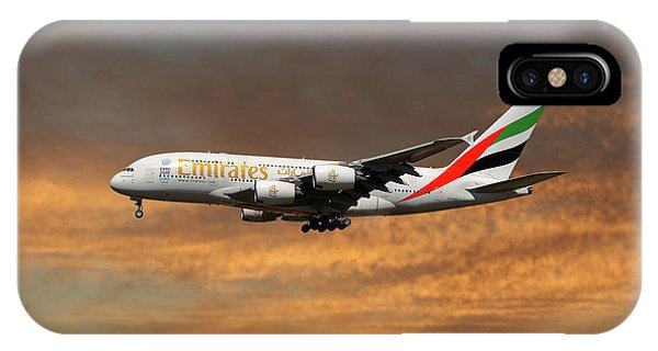 Jet iPhone X / XS Case - Emirates Airbus A380-861 3 by Smart Aviation
