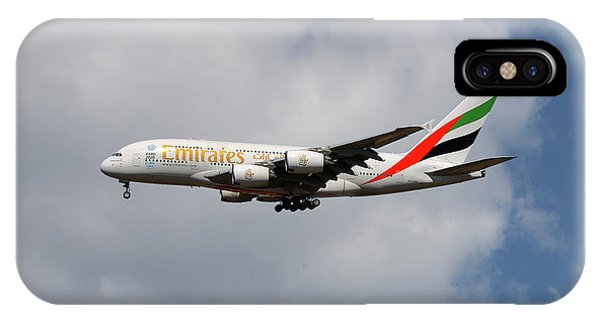 Jet iPhone X / XS Case - Emirates Airbus A380-861 5 by Smart Aviation