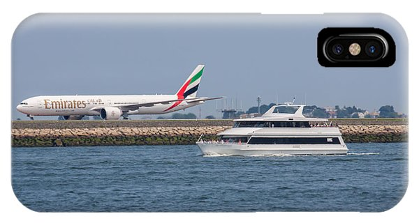 Emirates Airlines 777 Taxiing At Logan Airport IPhone Case