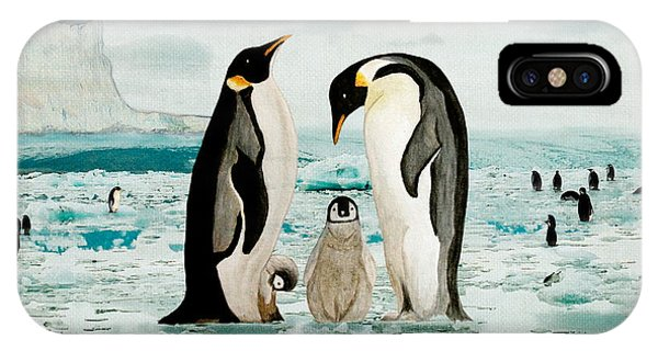 IPhone Case featuring the painting Emperor Penguin Family by Angeles M Pomata