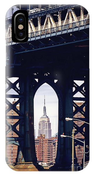 New York City iPhone Case - Empire Framed by Joan McCool