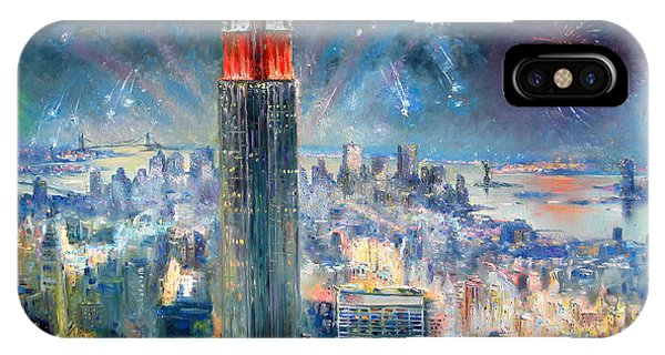 Empire iPhone Case - Empire State Building In 4th Of July by Ylli Haruni