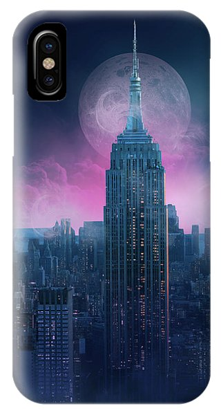 Empire State Building iPhone Case - Empire State Building Moonlight by Bekim M