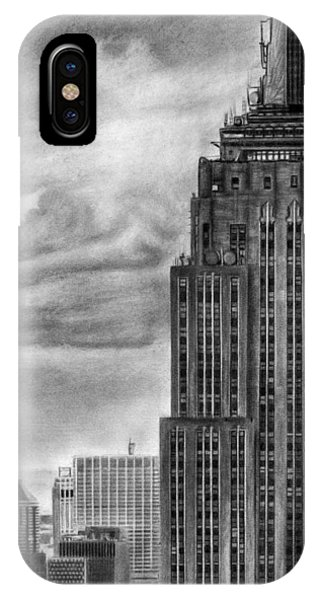 Empire State Building New York Pencil Drawing IPhone Case