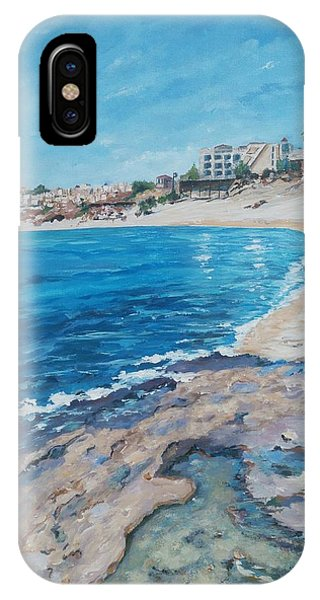 IPhone Case featuring the painting Empty Beach by Ray Khalife