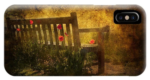 Park Bench iPhone Case - Empty Bench And Poppies by Svetlana Sewell