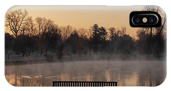 Empty Bench At Misty City Park Lake IPhone Case