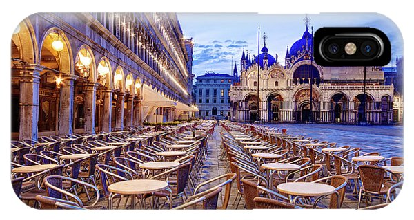 IPhone Case featuring the photograph Empty Cafe On Piazza San Marco - Venice by Barry O Carroll