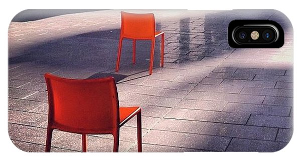 Orange iPhone Case - Empty Chairs At Mint Plaza by Julie Gebhardt