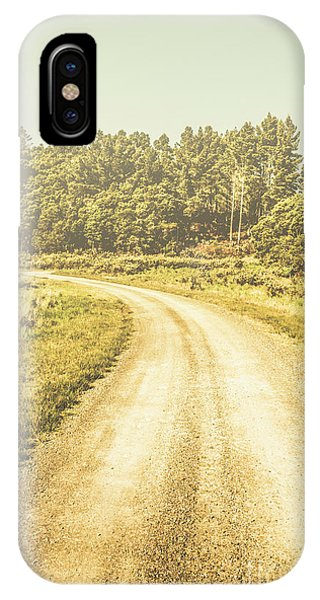 Foliage iPhone Case - Empty Curved Gravel Road In Tasmania, Australia by Jorgo Photography - Wall Art Gallery