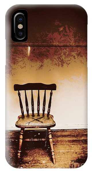 Wood Floor iPhone Case - Empty Wooden Chair With Cross Sign by Jorgo Photography - Wall Art Gallery