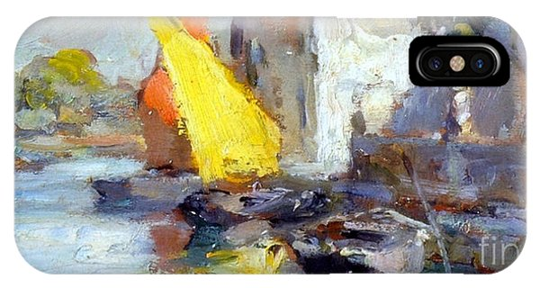 IPhone Case featuring the painting En Plein Air In Venice by Rosario Piazza