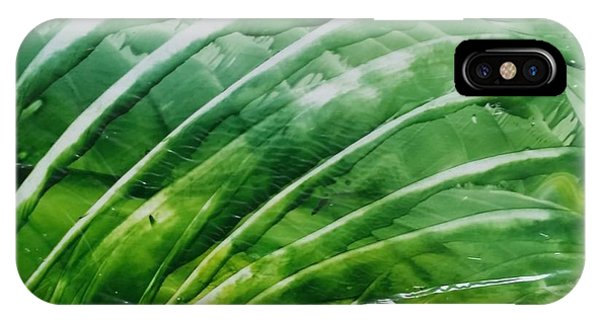 Encaustic Abstract Green Fan Foliage IPhone Case