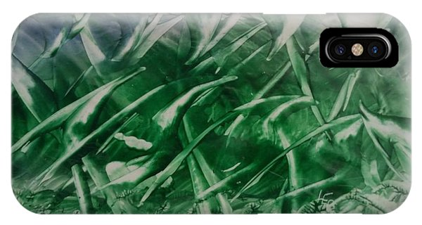 Encaustic Green Foliage With Some Blue IPhone Case