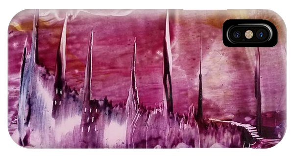 Encaustic Purple-pink Abstract Castles IPhone Case