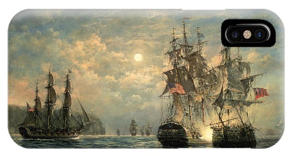The Sky iPhone Case - Engagement Between The 'bonhomme Richard' And The ' Serapis' Off Flamborough Head by Richard Willis