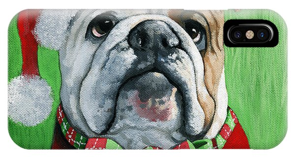 Holiday Cheer -english Bulldog Santa Dog Painting IPhone Case