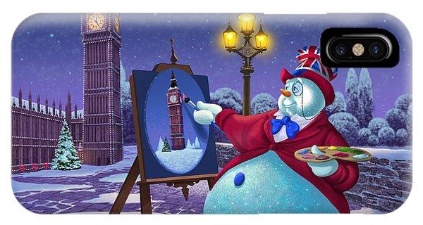 Big Ben iPhone Case - English Snowman by Michael Humphries