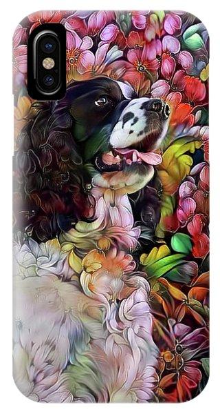 English Springer Spaniel In The Garden IPhone Case