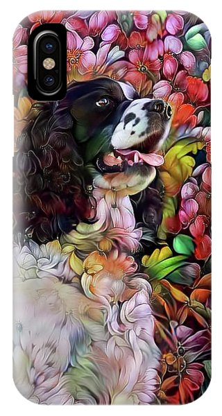 English Springer Spaniel In The Garden IPhone Case