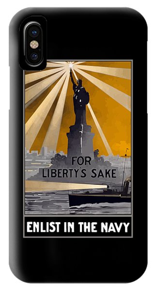 Statue Of Liberty iPhone Case - Enlist In The Navy - For Liberty's Sake by War Is Hell Store