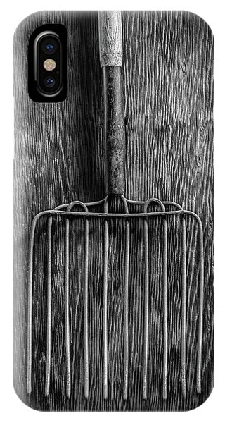 Farm Tool iPhone Case - Ensilage Fork Up On Plywood In Bw 66 by YoPedro