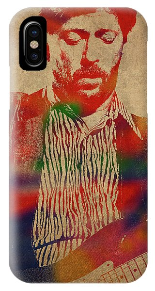 Eric Clapton iPhone Case - Eric Clapton Watercolor Portrait by Design Turnpike