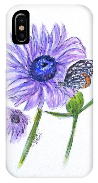 IPhone Case featuring the painting Erika's Butterfly Three by Clyde J Kell