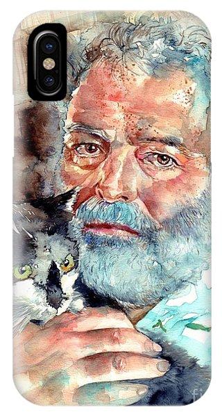 Nobel iPhone Case - Ernest Hemingway Watercolor by Suzann Sines