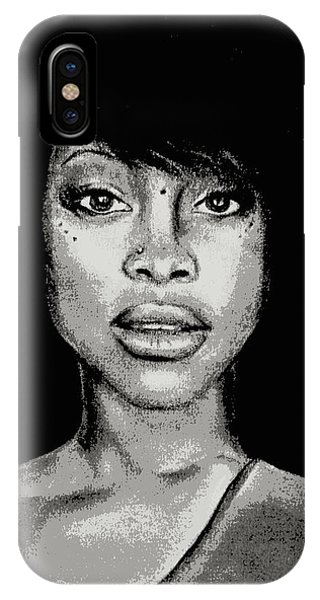 Erykah Baduism - Pencil Drawing From Photograph - Charcoal Pencil Drawing By Ai P. Nilson IPhone Case