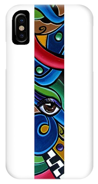 Colorful Abstract Art Painting, Modern Art Brown Eye Art Paintings IPhone Case