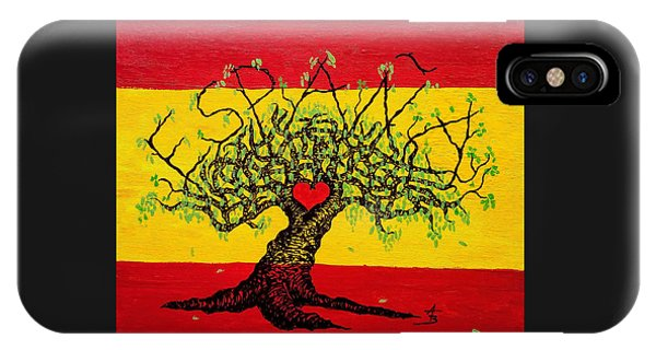 IPhone Case featuring the drawing Espana Love Tree by Aaron Bombalicki