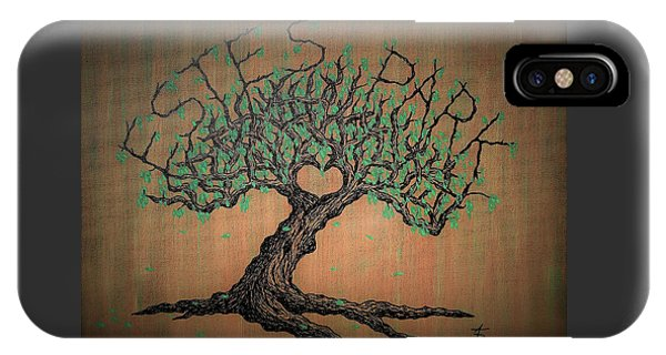 IPhone Case featuring the drawing Estes Park Love Tree by Aaron Bombalicki