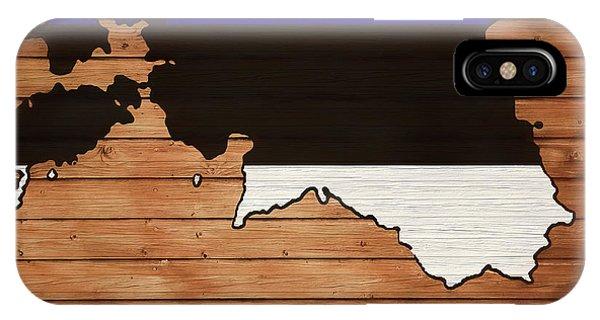 Traveler iPhone Case - Estonia Rustic Map On Wood by Dan Sproul