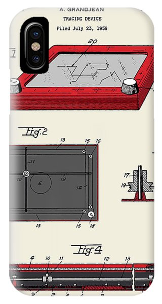 Etch-a-sketch iPhone Case - Etch-a-sketch Patent by Finlay McNevin