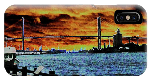 IPhone Case featuring the photograph Eugene Talmadge Memorial Bridge And The Serious Politics Of Necessary Change No. 1 by Aberjhani's Official Postered Chromatic Poetics