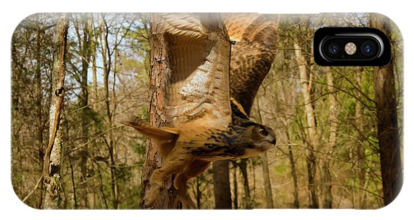 Eurasian Eagle Owl In Flight IPhone Case