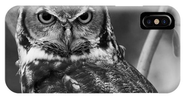 Eurasian Eagle Owl Monochrome IPhone Case