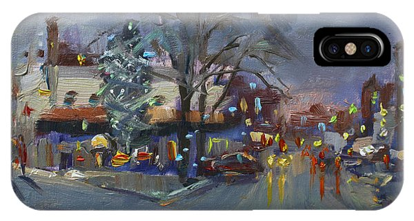 Christmas Tree iPhone Case - Evening At Webster And Main St by Ylli Haruni
