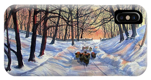 Evening Glow On A Winter Lane IPhone Case